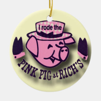Est monté le porc rose, riches, ornement de Noël