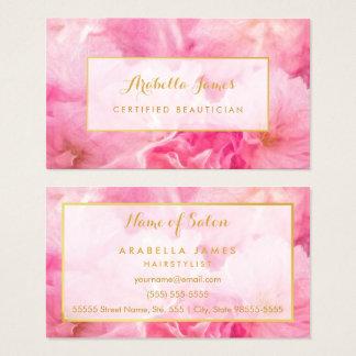 Esthéticien certifié floral de belles fleurs roses cartes de visite