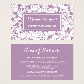 Esthéticien certifié Girly floral pourpre moderne Cartes De Visite