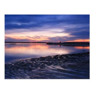 Estrans au coucher du soleil, plage de Salisbury Cartes Postales