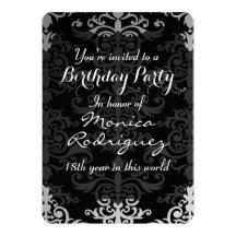 Et grise anniversaire personnalisé par damassé carton d'invitation  12,7 cm x 17,78 cm