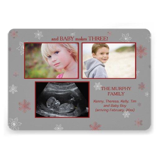 Et le bébé fait la grossesse Announcemen de trois Invitations Personnalisées