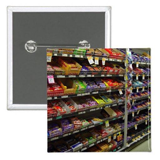 Étagères des barres de chocolat de stock badge