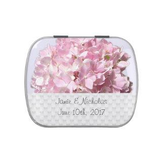 Étain floral rose de sucrerie de faveur de mariage boites de bonbons jelly belly
