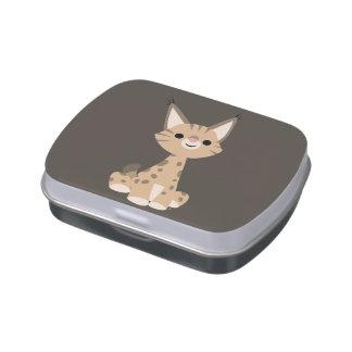 Étain mignon de sucrerie de Lynx de bande dessinée Boites Jelly Belly