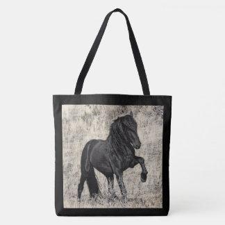 Étalon noir sauvage grand Totoe Tote Bag