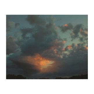 Été du nord 2016 de ciel et de nuages de lever de impression sur bois