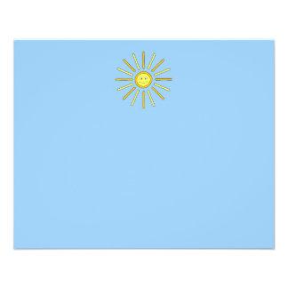 Été heureux Sun. Jaune et bleu Prospectus 11,4 Cm X 14,2 Cm