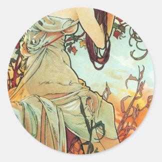 Été, les saisons, Mucha Sticker Rond