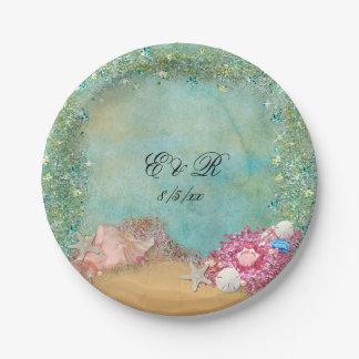 Été, mariage de plage, coquillages, plaques à assiettes en papier
