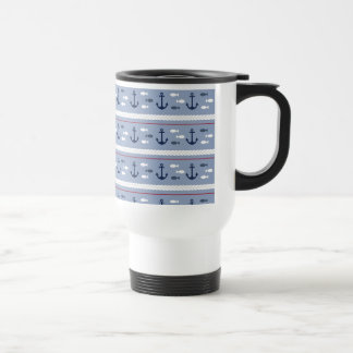 Été nautique bleu mug de voyage