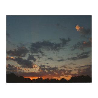 Été oriental 2016 de ciel et de nuages de lever de impression sur bois