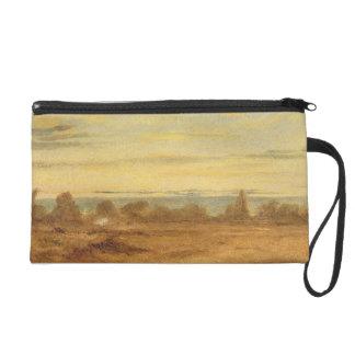 Été - paysage de soirée (huile sur la toile) sac à main avec dragonne