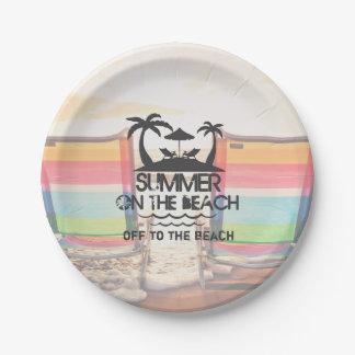 Été sur la plage | personnalisé assiettes en papier