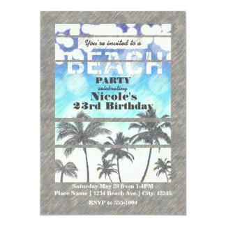 Été tropical de palmiers de partie de plage carton d'invitation  12,7 cm x 17,78 cm