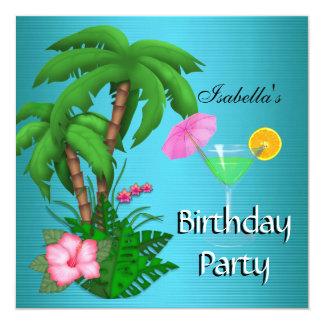 Été tropical de vert bleu de fête d'anniversaire carton d'invitation  13,33 cm