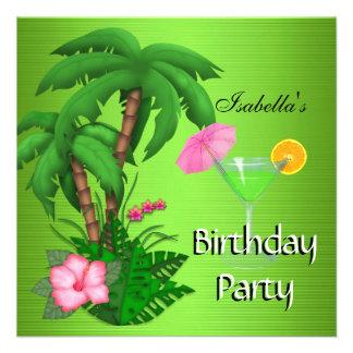 Été vert tropical de fête d anniversaire invitation personnalisable