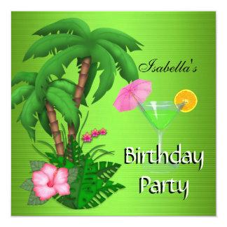Été vert tropical de fête d'anniversaire carton d'invitation  13,33 cm