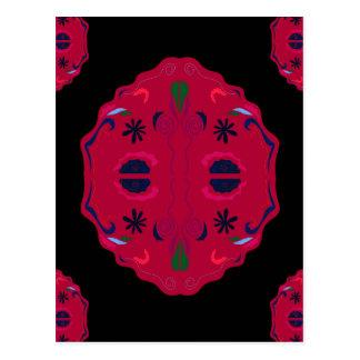 Ethno rouge sauvage de mandalas carte postale
