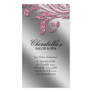 Étincelle argentée rose élégante le de carte de vi cartes de visite personnelles