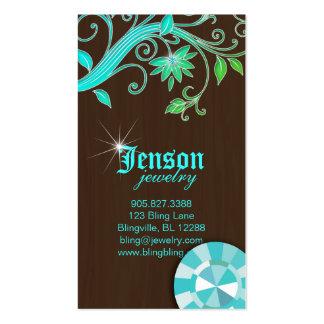 Étincelle bleue en cristal de fleur de cartes de v cartes de visite professionnelles