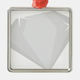 Étincelle de diamant ornement carré argenté
