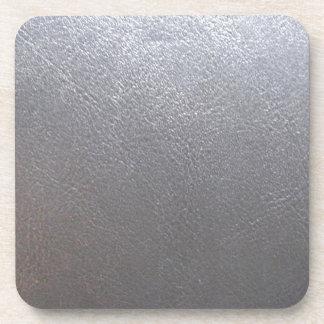 Étincelle de gris ARGENTÉ : Finition simili cuir Dessous-de-verre
