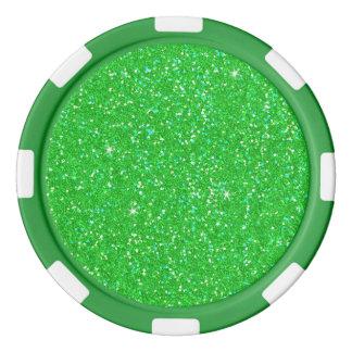 Étincelle d'effet de scintillement de vert vert lot de jeton de poker