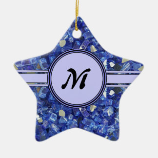 Étincelle en verre bleue de monogramme de cristaux ornement étoile en céramique