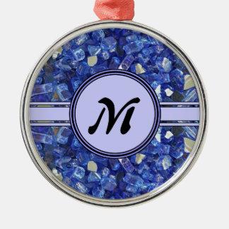 Étincelle en verre bleue de monogramme de cristaux ornement rond argenté