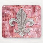 Étincelle rose Jewel Fleur De Lis Vintage de paill Tapis De Souris