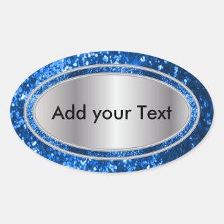 Étincelles fascinantes scintillantes de bleu sticker ovale