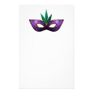Étincelles pourpres d'or vert de masque de mardi papier à lettre customisable
