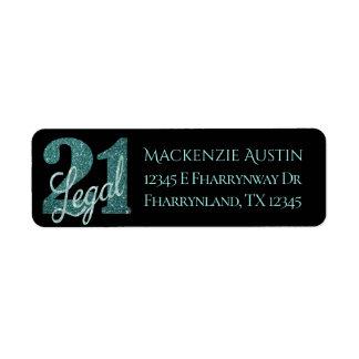 Étiquette 21ème Fête d'anniversaire juridique de thème de la