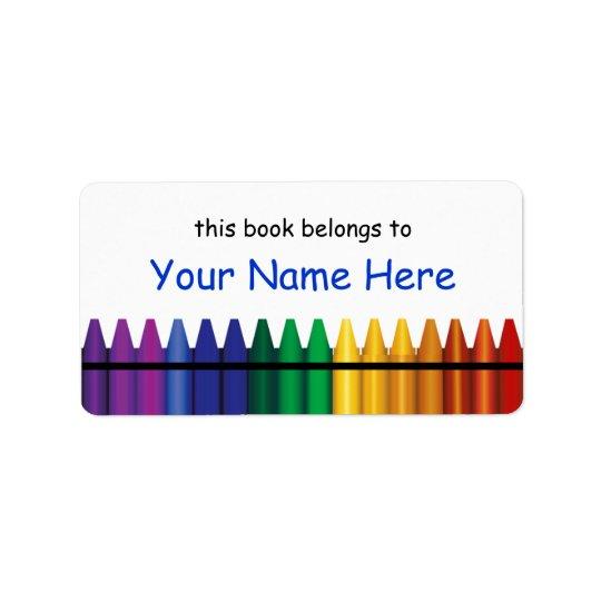 Étiquette 2 de modèle d'ex-libris de crayons