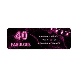 Étiquette 40 et quarantième anniversaire rose et noir