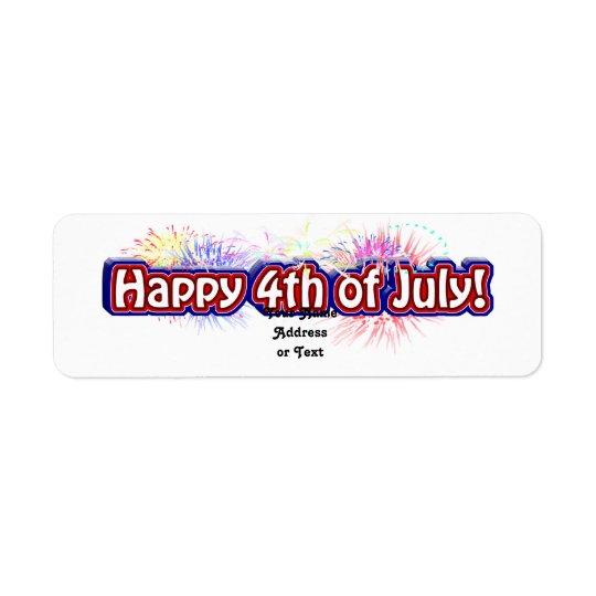 Étiquette 4 juillet conception heureuse w/Fireworks des
