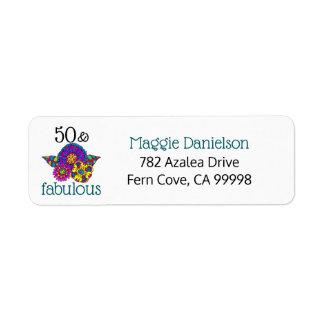 Étiquette 50 et adresse de retour florale vibrante turquoise