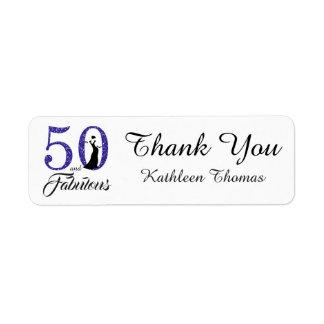 Étiquette 50 et cinquantième Merci fabuleux de coutume