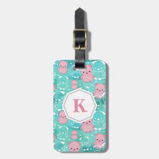 Étiquette À Bagage Abondance des porcs - décorés d'un monogramme