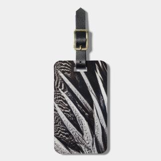 Étiquette À Bagage Abrégé sur noir et blanc plume