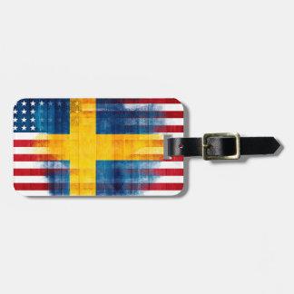 Étiquette À Bagage Adresse nommée en bois américaine suédoise du