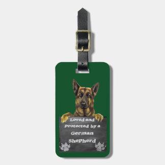 Étiquette À Bagage Aimé et protégé par un berger allemand