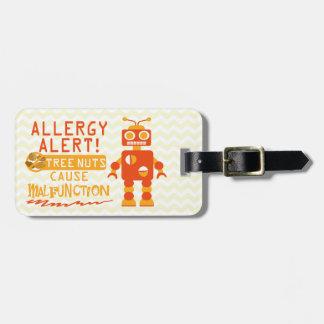 Étiquette À Bagage Alerte orange d'allergie alimentaire de noix de