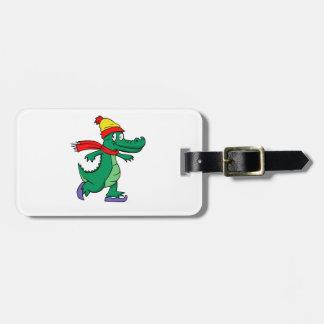 Étiquette À Bagage Alligator patinant avec le casquette et l'écharpe
