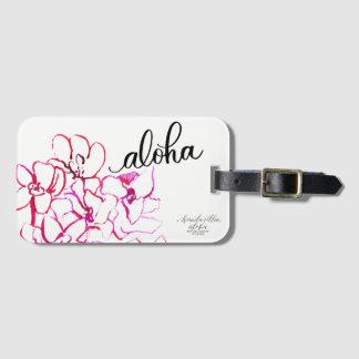 Étiquette À Bagage Aloha étiquette lumineuse de bagage de fleur