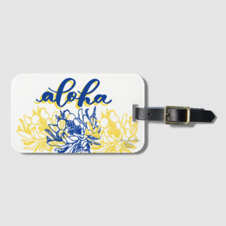 Étiquette À Bagage Aloha étiquettes jaunes bleues de bagage de cierge