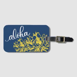Étiquette À Bagage Aloha le cierge jaune bleu fleurit des étiquettes