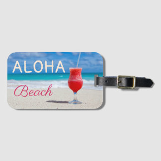 Étiquette À Bagage Aloha rêve carribean de paradis de plage