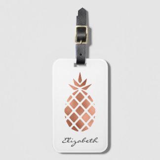 Étiquette À Bagage Ananas rose personnalisé de feuille d'or de faux